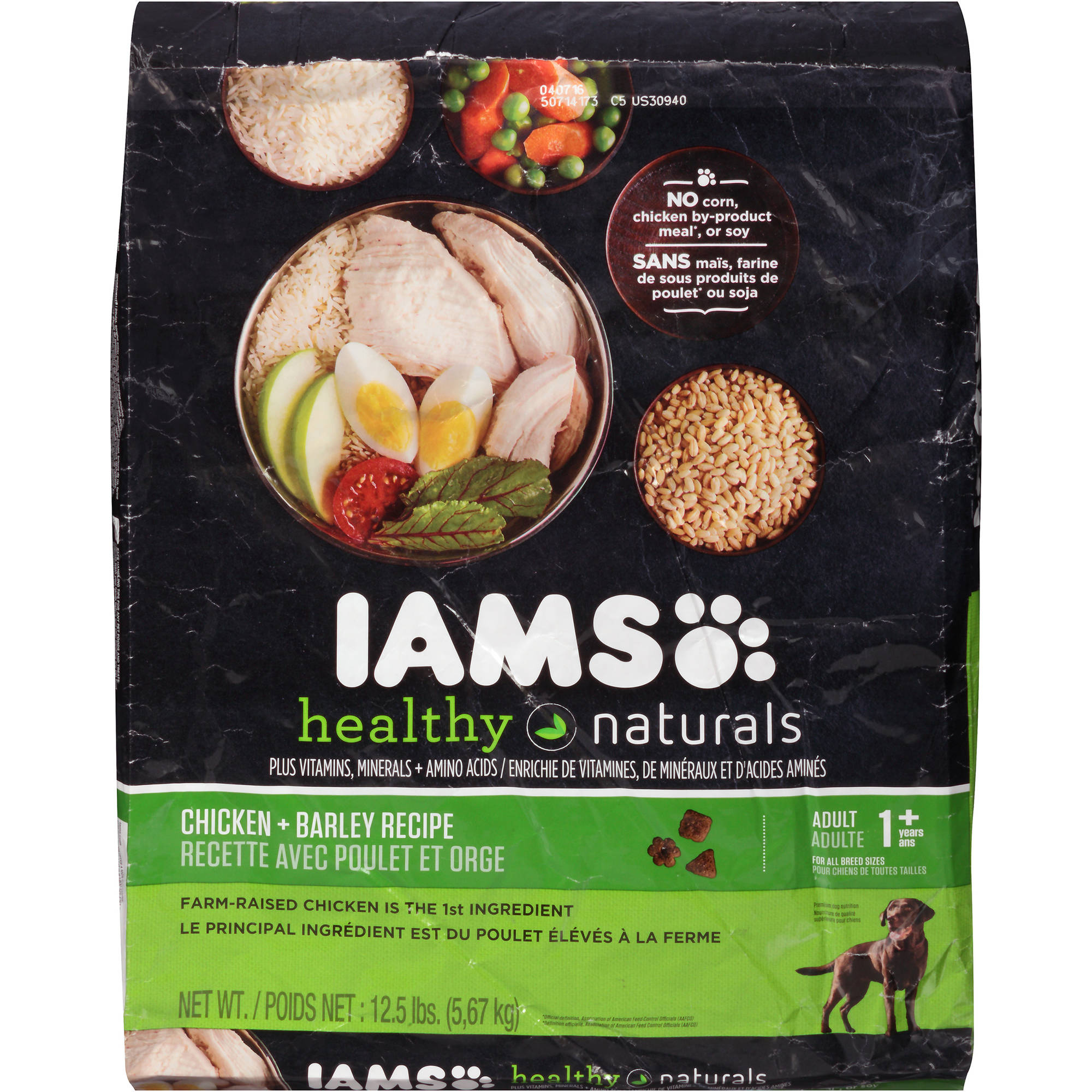 Iams Healthy Naturals Chicken + Barley Recipe Adult 1+ Years Dog Food 12.5 lb. Bag