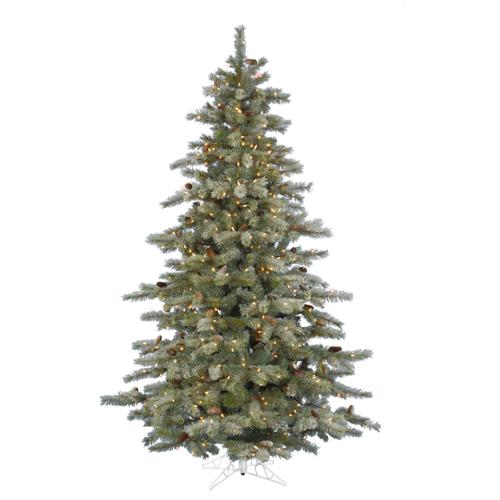 7.5' Pre-Lit Full Frosted Sartell Artificial Christmas Tree - Dura Clear Lights