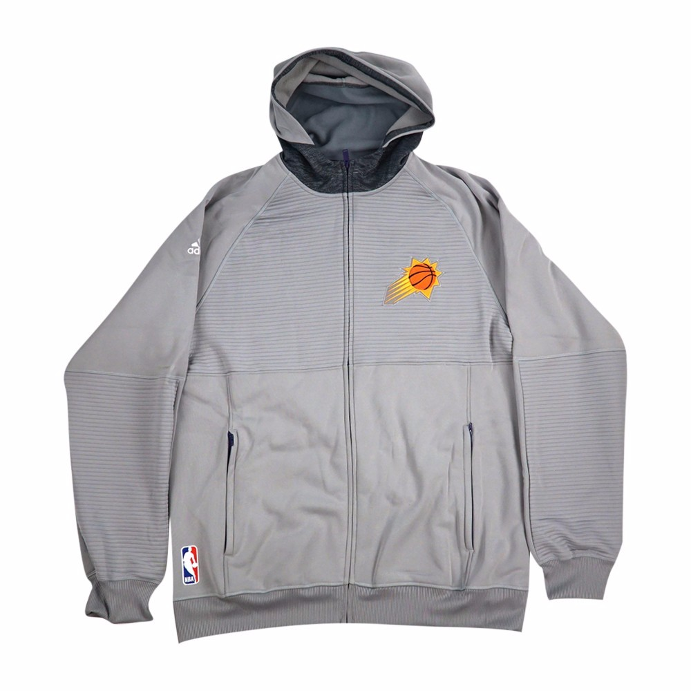Phoenix Suns NBA Adidas Grey Team Issued Pre-Game Full Zip Hooded Pro Cut Jacket Jacket For Men (2XLT) by Adidas