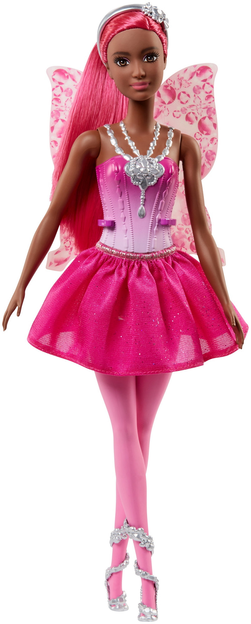 Barbie Dreamtopia Fairy Doll, Pink Ponytail with Jewel Print Wings by Mattel