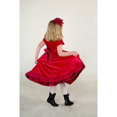 Sweet Young Girl (Canvas Print Cute Dress Young Little Girl Sweet Red Dress Stretched Canvas 10 x 14 )