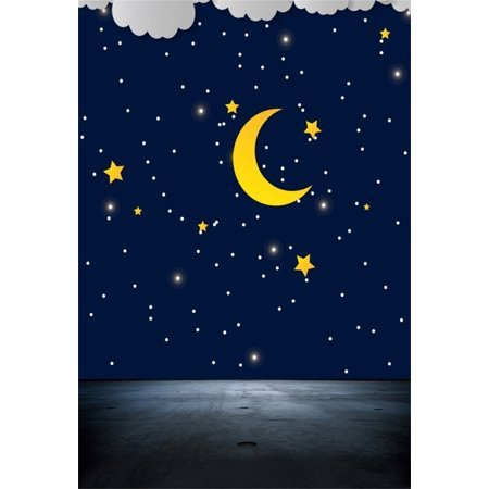 HelloDecor Polyster 5x7ft Dreamy Starry Sky Backdrop Cartoon Moon Night Photography Background Kid Baby Infant Newborn Child Girl Toddler Artistic Portrait Photo Shoot Studio Props Video Drop Drape - Halloween Photo Shoot Ideas For Infants