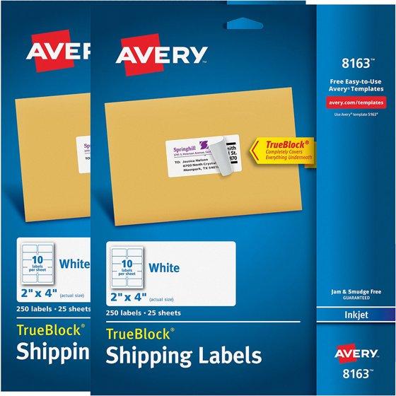 averyr shipping labels with trueblockr technology for inkjet printers 8163 2 x 4 pack of 250 walmartcom