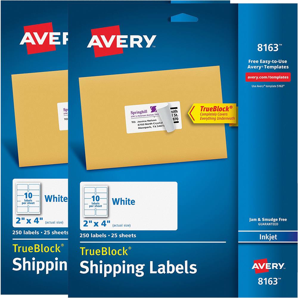 "(2 Pack) Avery(R) Shipping Labels with TrueBlock(R) Technology for Inkjet Printers 8163, 2"" x 4"", Pack of 250"