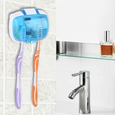 Ejoyous Double Hole UV Light Toothbrush Sterilizer Holder, Wall-Mounted Toothbrush Sterilizer, 6-8 minutes Quick Sterilization, 99% Sterilization Rate, Automatically Shut