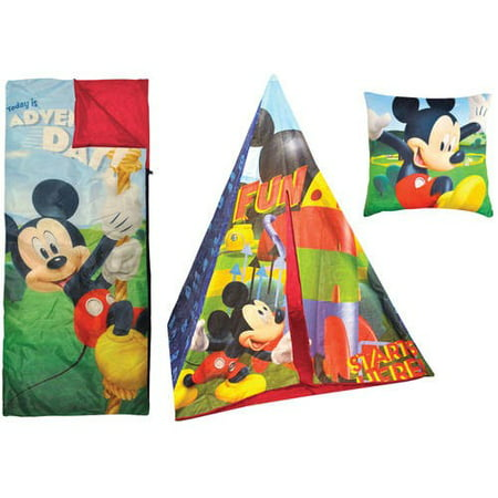 Disney Mickey Mouse Teepee Play Tent and Slumber Bag with Bonus Pillow