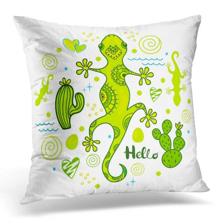 CMFUN Green Animal Colorful Lizard with Cactus and Heart Beautiful Pillow Case Pillow Cover 20x20 inch