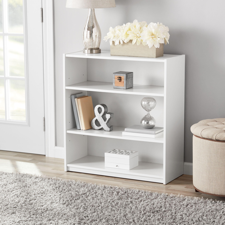 Mainstays 31 Quot 3 Shelf Standard Bookcase White Walmart Com Walmart Com