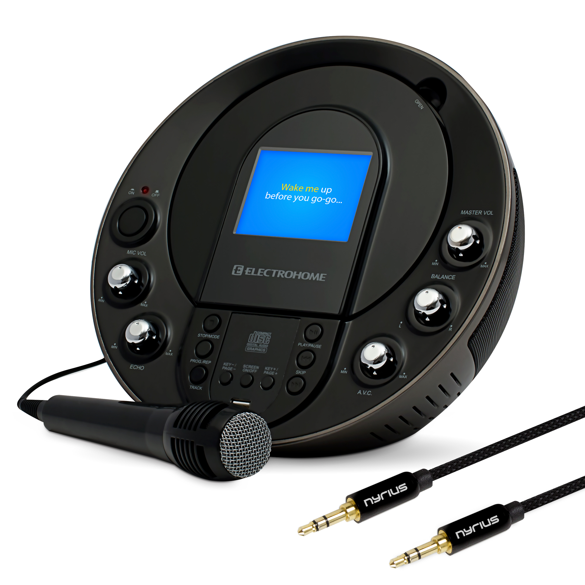 Electrohome Eakar535 Portable Karaoke Cd G Mp3g Player Speaker 3 5mm Audio Cable Wiring Scheme System With 35 Screen 2 Microphone Connections And Smartphone Tablets Mp3 Input Bonus 35mm Aux Stereo