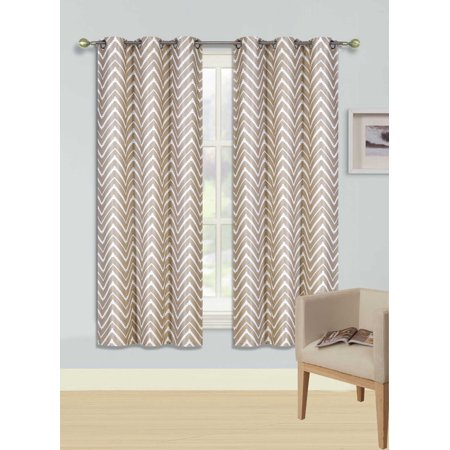 "F2 TAUPE Printed Thermal Insulated 100% BLACKOUT Grommet Top Window Curtain Treatment, Set of Two (2) Geometric Zig Zag Pattern Darkening Panels 37""in Wide x 63""in Length (Each)"