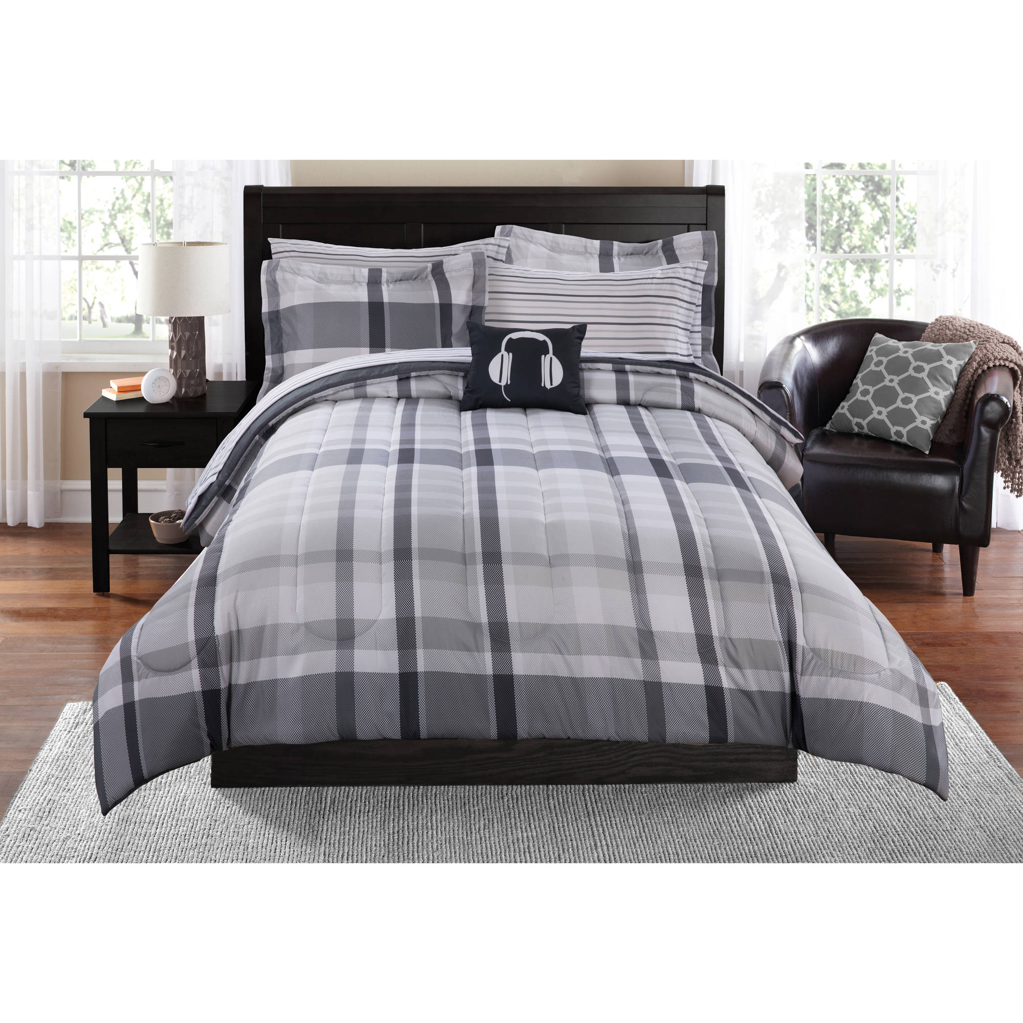 Mainstays Plaid Bed in a Bag Complete Bedding Set