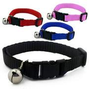 Wideskall Adjustable Nylon Safety Breakaway Cat Collar With Bell, Black