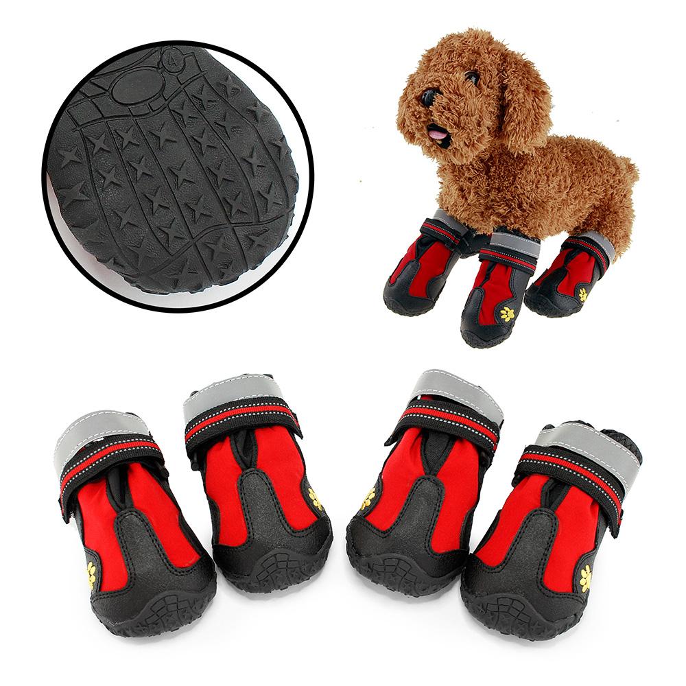 Water Resistant Pet Boots Waterproof Indoor Outdoor Dog Shoes - Size 4