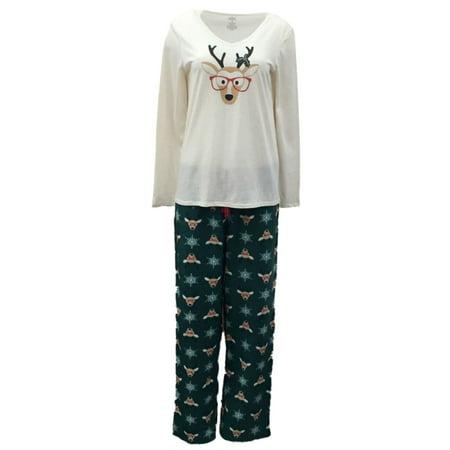 Soft Sensations Womens Green Reindeer Pajamas Fleece Sleep Pants T-Shirt Set