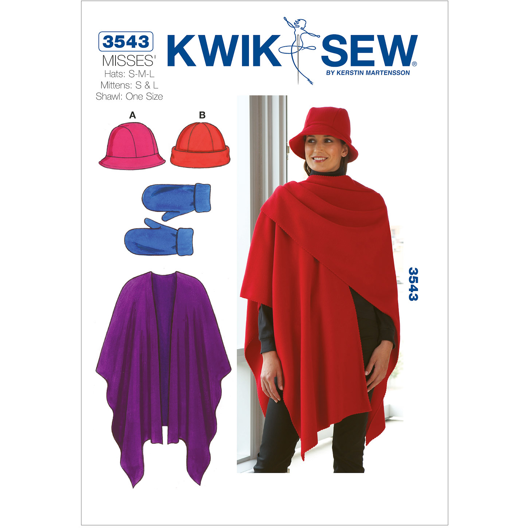 Kwik Sew Pattern Hats, Mittens and Shawl, Hats: (S, M, L), Mittens (S, L), Shawl (One Size)