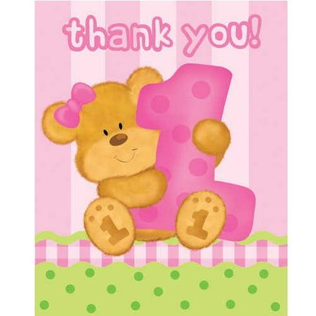 Bears 1St Birthday Girl Thank You (1st Birthday Thank You)