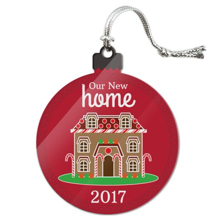 Our New Home 2018 Gingerbread House on Red Acrylic Christmas Tree Holiday (Gingerbread House Holiday Ornament)
