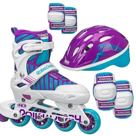 Roller Derby Carver Kids Inline/Protective Skate Pack - White/Teal/Purple M
