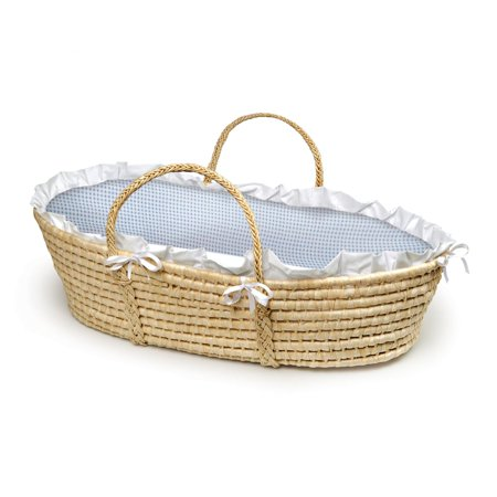 Badger Basket Natural Moses Basket, Blue Gingham