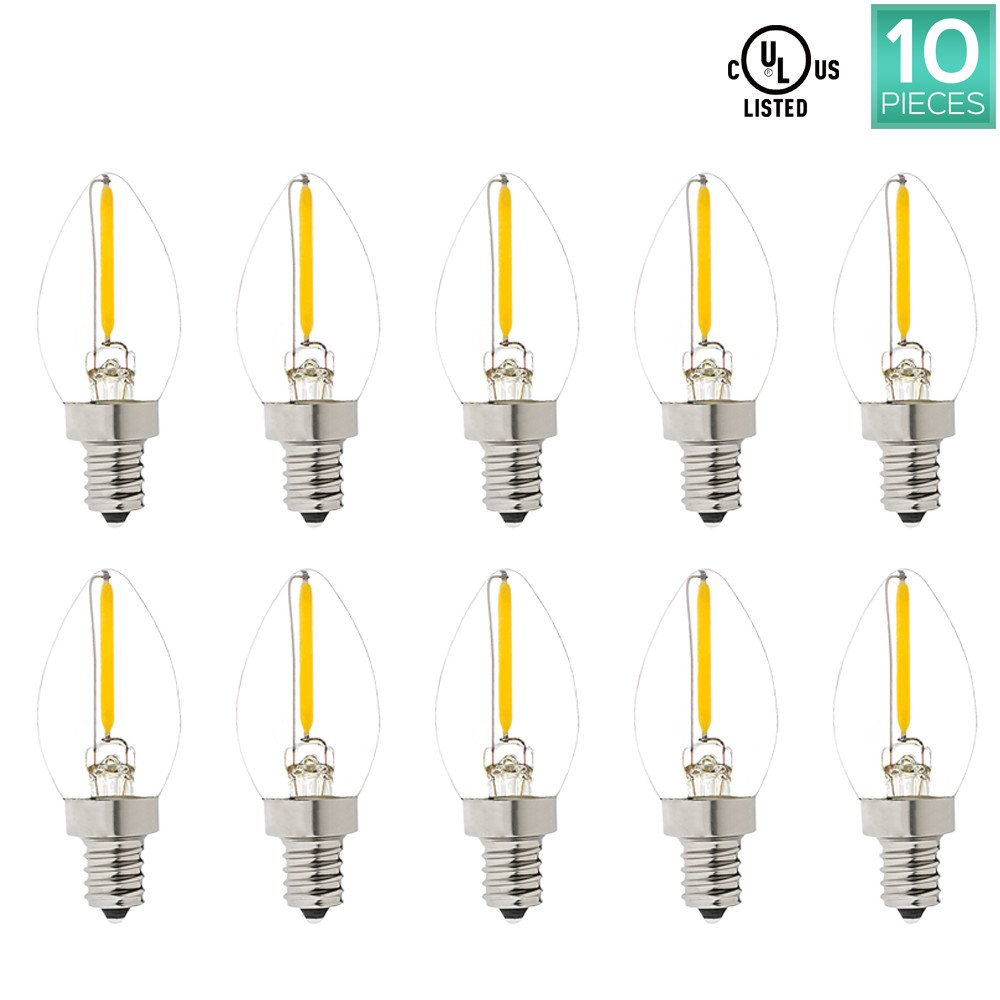 Pack of 10 C7 LED Bulb, Luxrite, 10W Equivalent, Warm White 2700K, LED Night light bulb, 50 Lumens, E12 Base, UL Listed