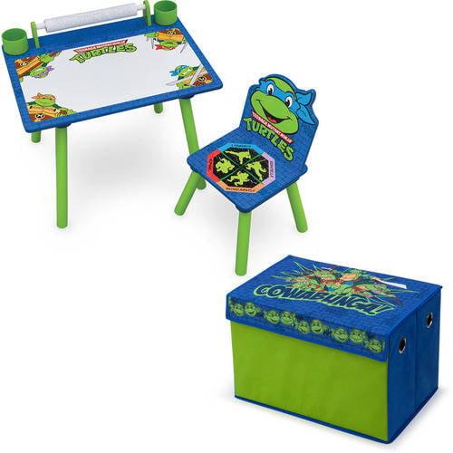 Nickelodeon Teenage Mutant Ninja Turtles Art Desk with Fabric Toy Box Playroom Value Bundle