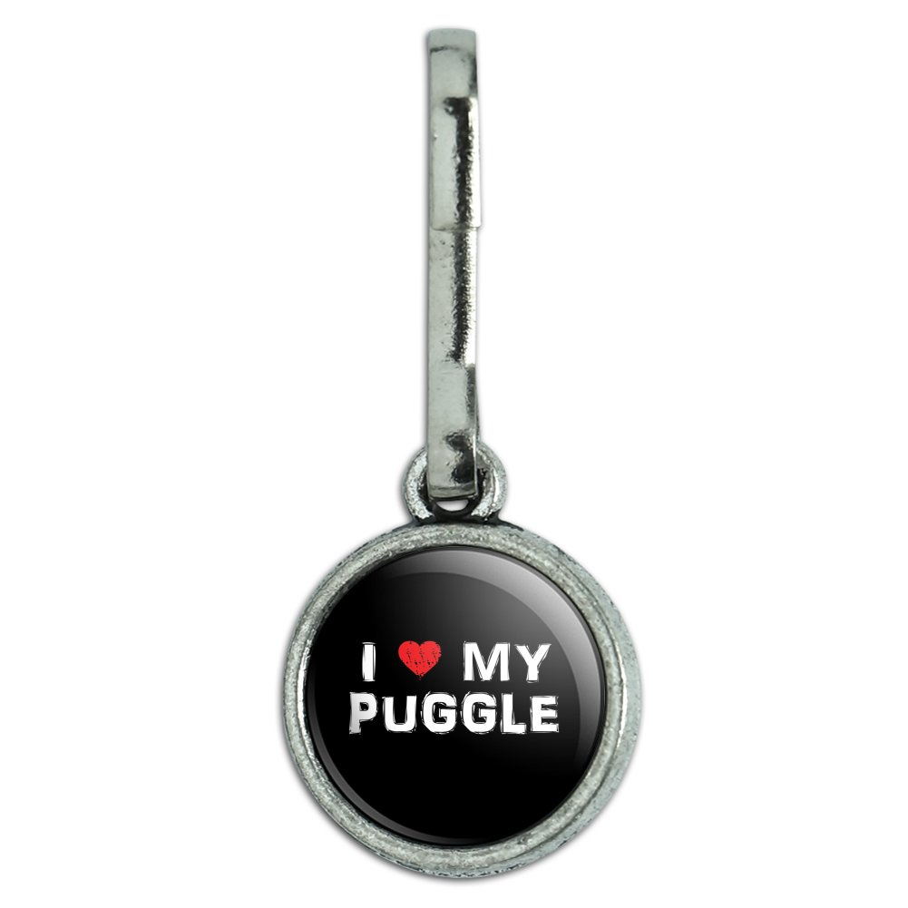 I Love My Puggle Stylish Antiqued Charm Clothes Purse Backpack Zipper Pull