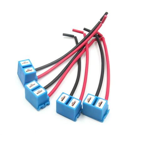 4pcs H7 LED Bulb Car Headlamp Fog Light Wired Harness Socket Connector - image 4 of 4