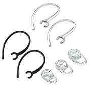 Earbuds Earhooks Bluetooth Replacement Set for Plantronics Voyager Edge Wireless Bluetooth Replacement Earbuds Ear-Tips and Earhook 1 SMALL 1 MEDIUM 1 LARGE, 2 Clear Earhooks & 2 Black Earhook (CLEAR)