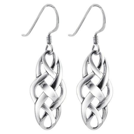 Gem Avenue 925 Sterling Silver Celtic Knot French Hook Dangle Earrings