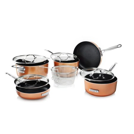 Gotham Steel Copper Cast Stackmaster Pots and Pans Set, 10 Piece Stackable Cookware with Nonstick Cast Texture Coating, Includes Frying Basket, Fry Pans, Saucepans, Stock Pots and More