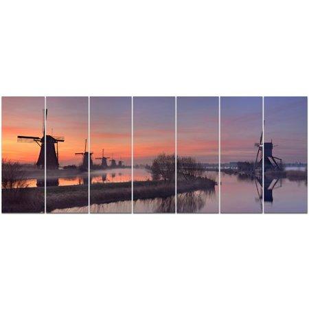 Orange Windmill - Design Art 'Windmills at Sunrise Panorama' Photographic Print Multi-Piece Image on Canvas