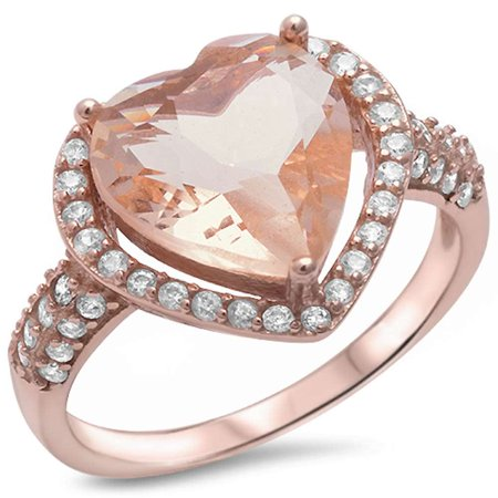 Rose Gold Plated Silver Simulated Morganite & Pave Cubic Zirconia Heart Ring Sizes 5-10 ()