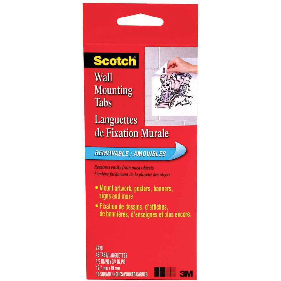 """Scotch Double Sided Adhesive Mounting Tab, 0.5"""" x 0.75"""", Pack of 480"""