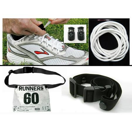 Sports Triathlon Marathon Belt Running Race Number Holder Elastic Lock Laces Set