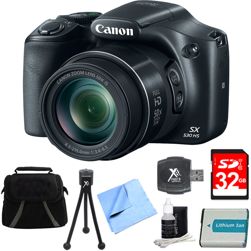 "Canon PowerShot SX530 HS 16MP 50x Opt Zoom Full HD Digital Camera Black Deluxe Bundle. Includes 32GB Secure Digital SD Memory Card, 1150mah Battery Pack, Compact Deluxe Gadget Bag, 5"" Flexible Mini T"