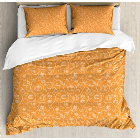 Harvest Queen Size Duvet Cover Set, Pattern with Pumpkin Leaves and Swirls on Orange Backdrop Halloween Inspired, Decorative 3 Piece Bedding Set with 2 Pillow Shams, Orange White, by Ambesonne