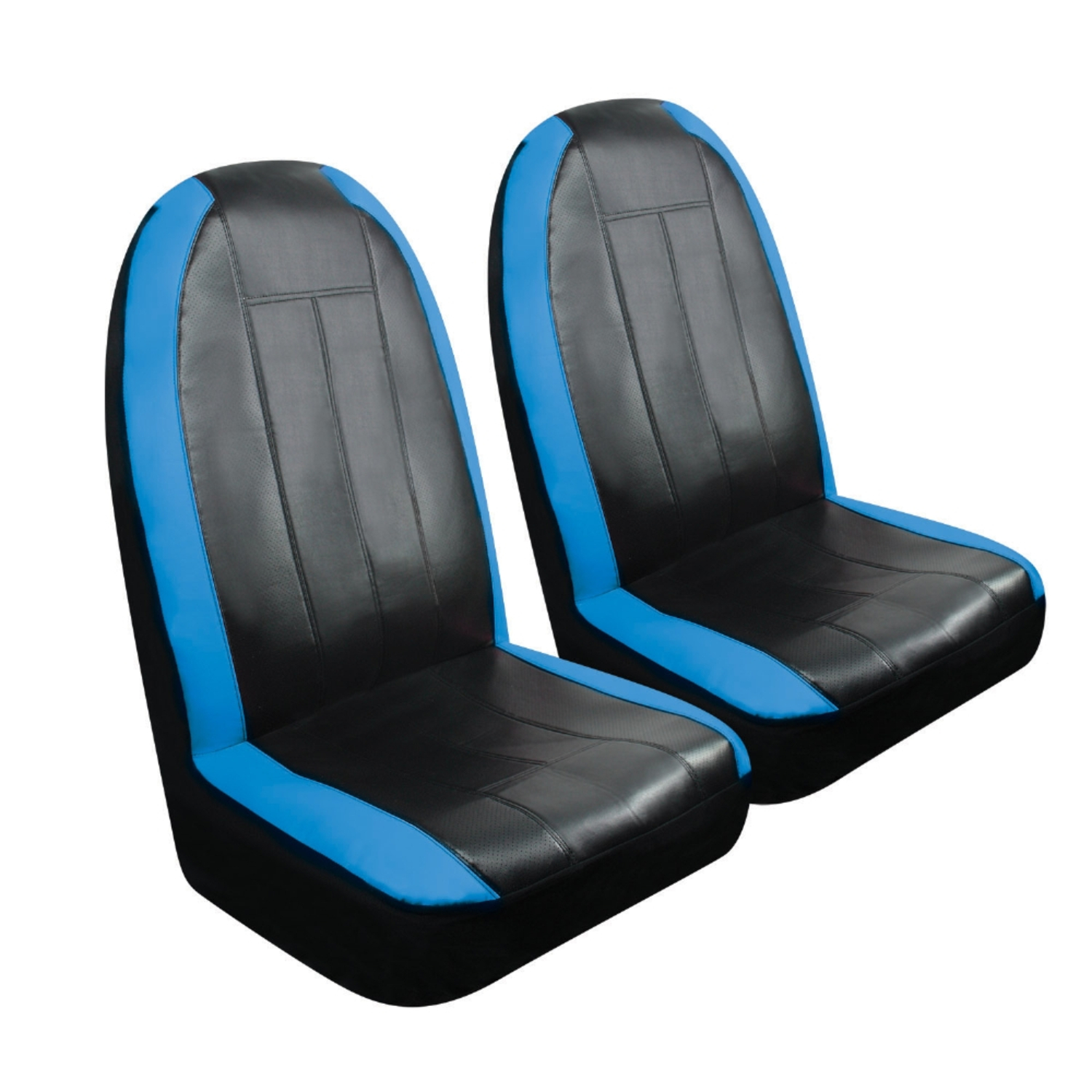 Black/Blue Sport Synthetic Leather Seat Cover - Pair (SC-440B)
