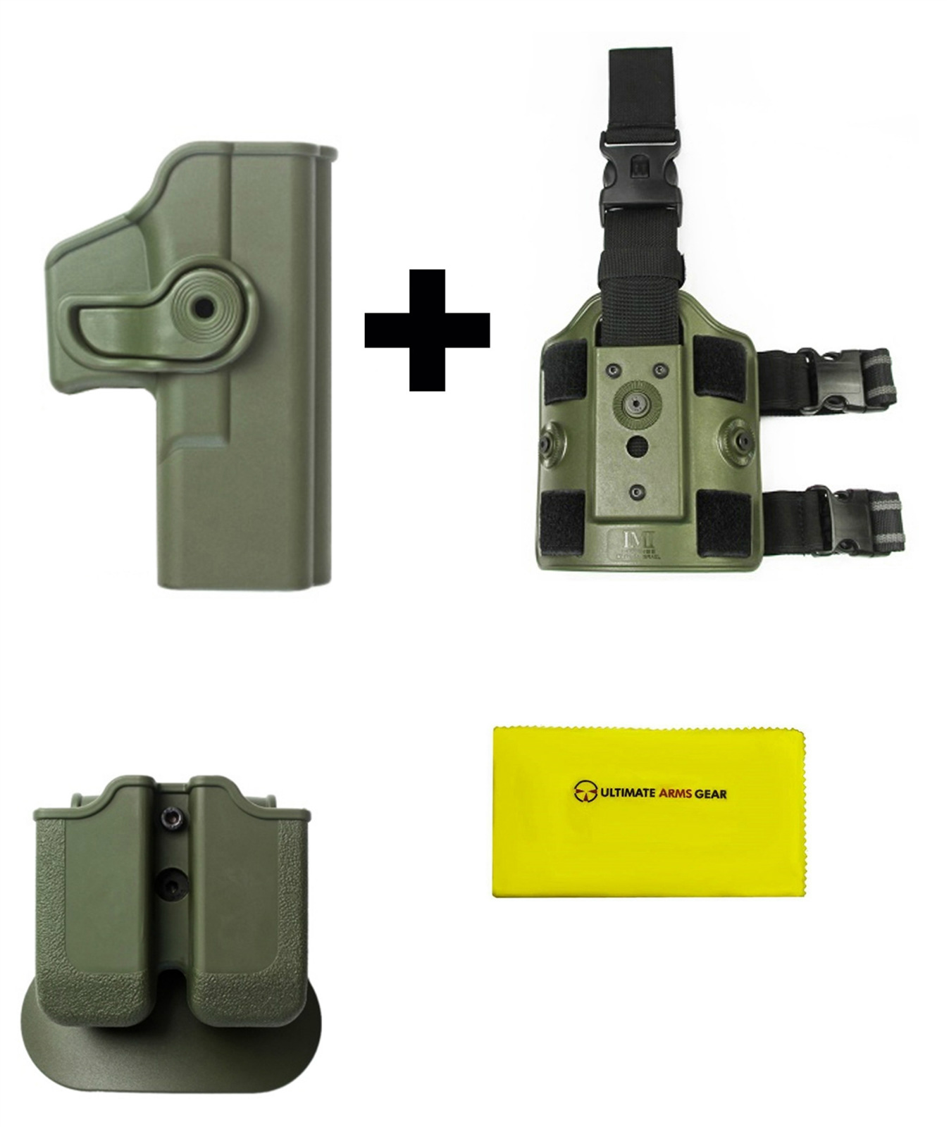 IMI Defense Z2000 MP00 Double Mag Holder & Paddle + Z1020 Rotate Holster Glock 19 23 25 28 32 Right Hand Gen 4... by