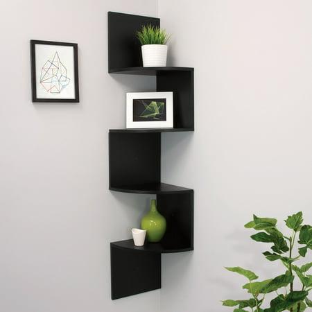 AZ Trading Provo Black Corner Shelf with 4 Shelves