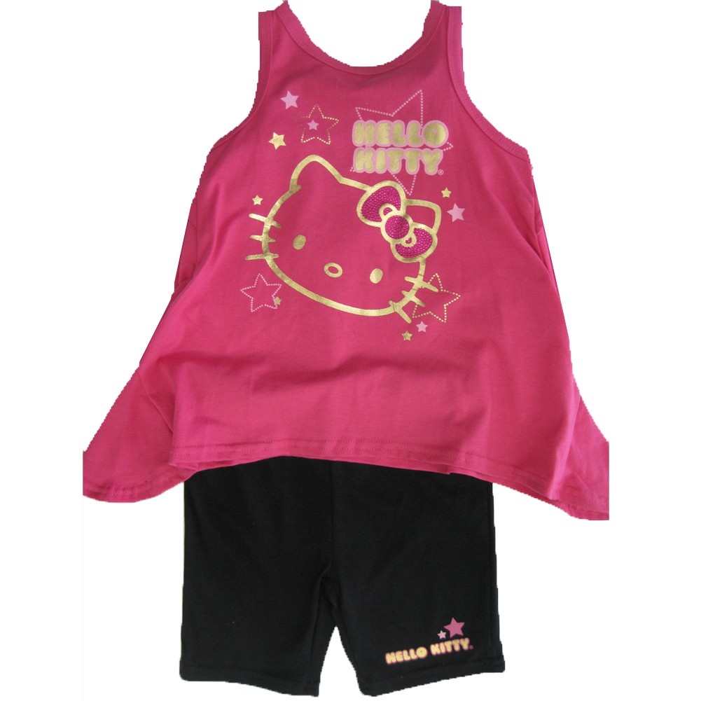 Hello Kitty Little Girls Fuchsia Black Flare Tank Top 2 Piece Capri Set 4-6X