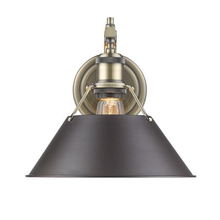 Golden Lighting 3306-1W AB-RBZ Orwell PW 1 Light Wall Sconce, Gold - Rubbed Bronze Shade - image 1 of 1