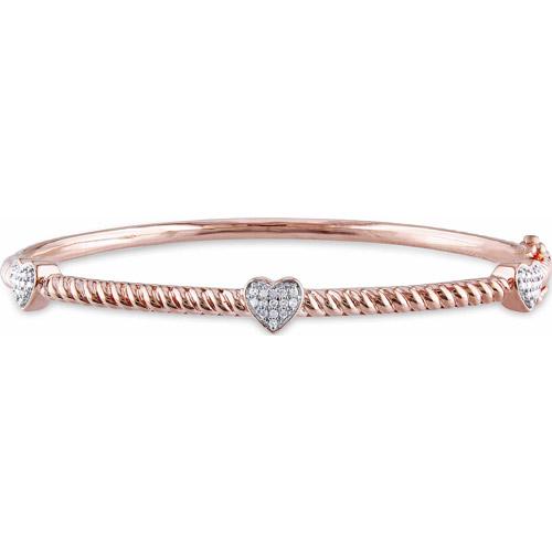 "Miabella 1/8 Carat T.W. Diamond Pink Rhodium over Sterling Silver Heart Bangle, 7"""