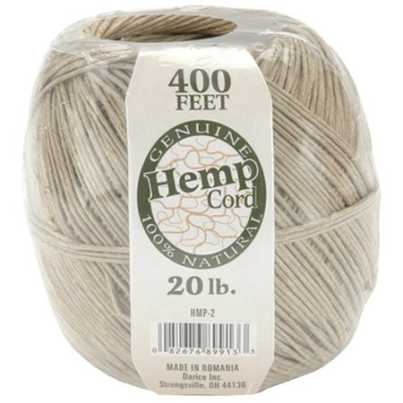 100% Hemp (One Package of 400 feet 100% Natural Hemp Cord #20, Measures 400 feet By Darice)