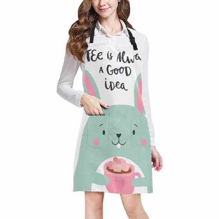 ASHLEIGH Cute Rabbit with Funny Quote Coffee Always a Good Idea Unisex Adjustable Bib Apron with Pockets for Women Men Girls Chef for Cooking Baking Gardening Crafting](Cute Baking Ideas For Halloween)