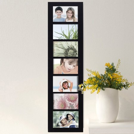Adeco Black Wood Hanging Divided 4 x 6-inch Photo Frame with 7 ...