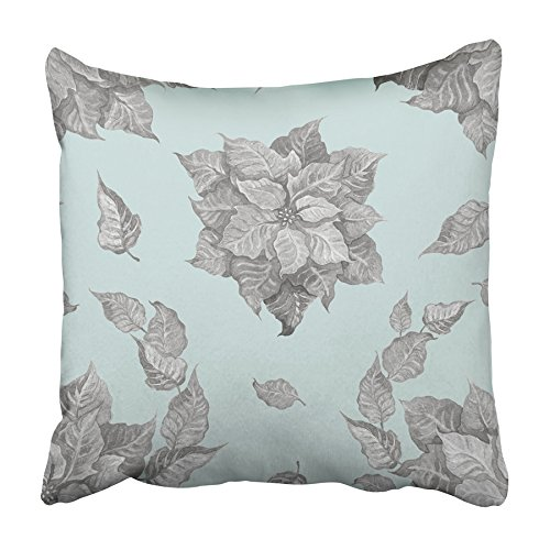 USART Red Christmas of Grey Poinsettia Flower on Blue for Festive Flora Holiday Plant Pillowcase Cushion Cover 20x20 inch