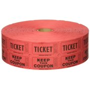 Red Double Raffle Ticket Roll, 2000/roll, 2,000 tickets per roll, consecutively numbered Each ticket is 2 long and 1 wide By Indiana Ticket Company