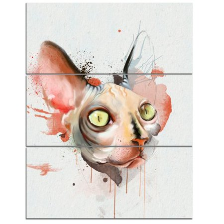 Design Art 'Red Faced Cat Watercolor Sketch' 3 Piece Wall Art on Wrapped Canvas Set