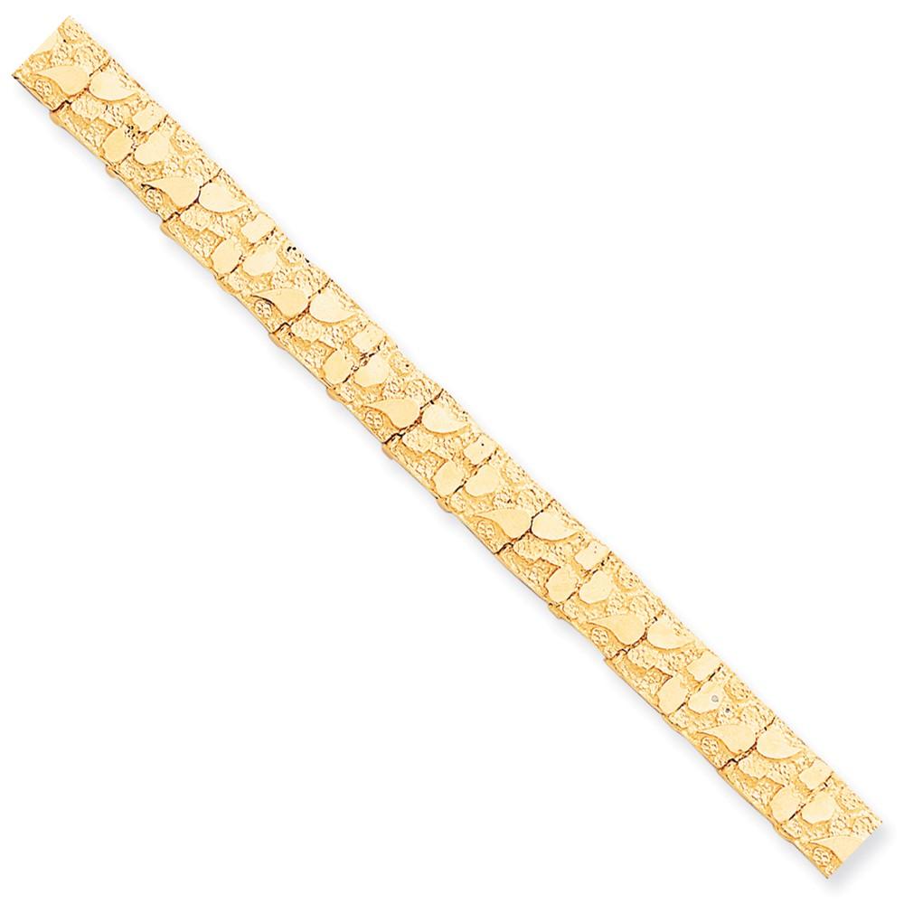 10k Yellow Gold 8in 10.0mm Men's Nugget Bracelet