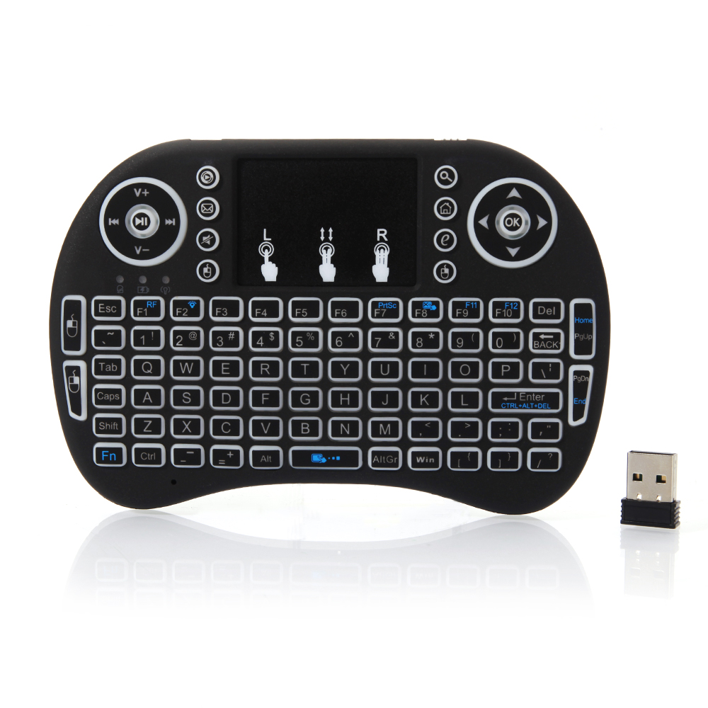 Zimtown 3-color Backlight 2.4GHz Mini Wireless Keyboard Handheld Touchpad Remote Air Mouse Keyboard for PC , Android TV Box